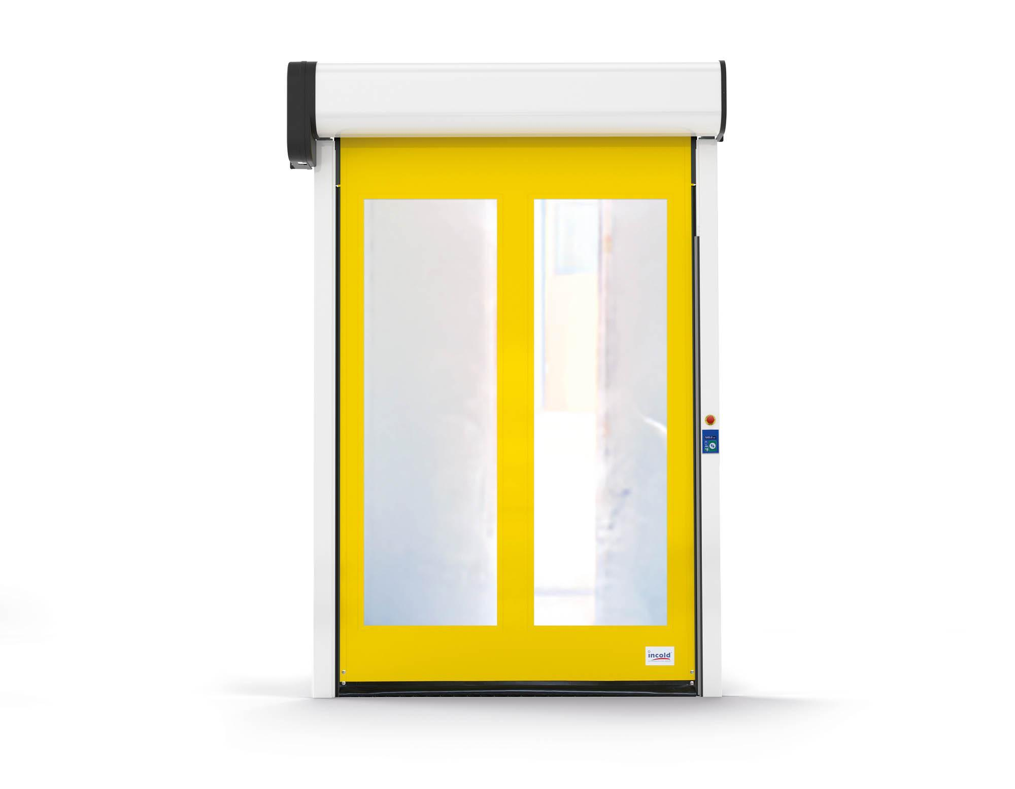 Door, usable in indoor environments, allows high visibility in transit areas.